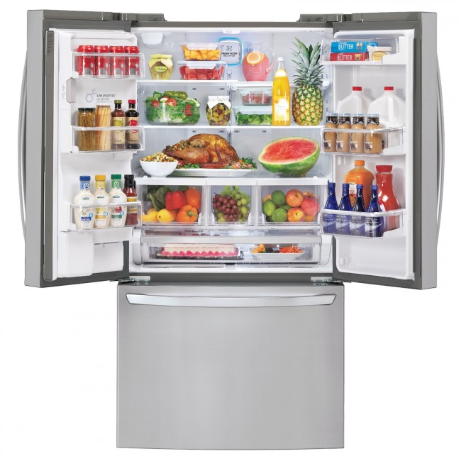 Our Smart ThinQ Refrigerator Intelligente Kühlschränke, die Buch über die enthaltenen Lebensmittel führen und bei Bedarf über das Internet Nachschub ordern, sind in früher Form bereits erhältlich.