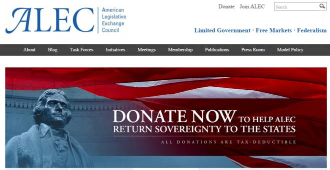 Bekommt nun kein Google-Geld mehr: Die Lobby-Organisation American Legislative Exchange Council. (Bild: ALEC Webseite/Screenshot)