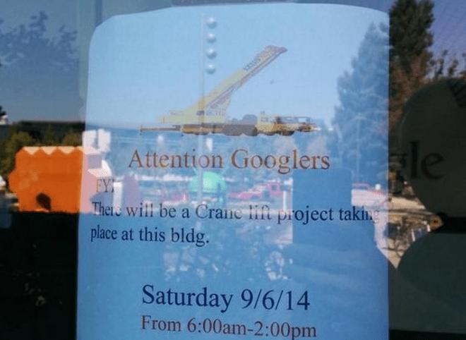 Stein des Anstoßes: Die Ankündigung der Bauarbeiten auf dem Google-Campus, inklusive Kran-Einsatz. (Bild: Frédérik Lajoie/Twitter)