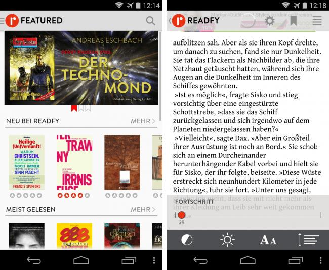 Mit der werbefinanzierten App Readfy kannst du kostenlos auf 25.000 digitale Bücher zugreifen.