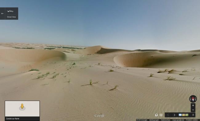 In der Wüste erwarten dich 40 Meter hohe Sanddünen – und das Liwa-Oasengebiet, das sich aus mehr als 50 einzelnen Oasen zusammensetzt. (Bild: Screenshot Web-Site Google Maps)