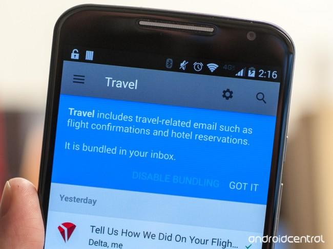 Zusammenpassende E-Mails, die das gleiche Thema behandeln, werden zu einer Gruppe zusammengefasst. (Foto: Androidcentral)