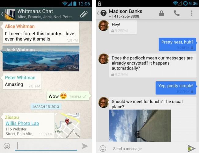 """Die aktuelle Version der Android-Version von WhatsApp (links) unterstützt bereits die Ende-zu-Ende-Verschlüsselung nach dem Protokoll, das von den Entwicklern der """"TextSecure""""-App (rechts) stammt. Die Apps für andere Betriebssysteme sollen bald nachziehen. (Bildschirmfotos: WhatsApp Inc. [links], Open Whisper Systems [rechts])"""