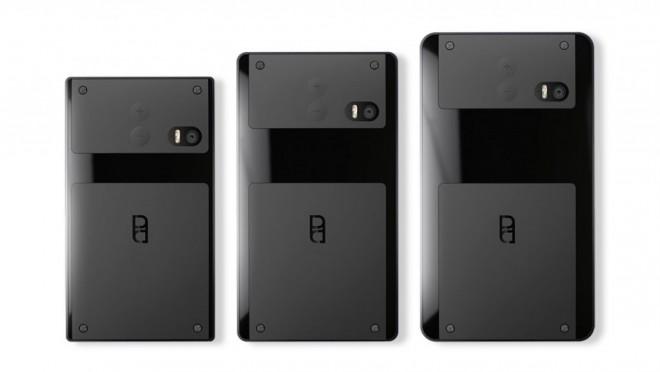 Zwei austauschbare Module bietet das PuzzlePhone auf der Rückseite: einmal oben, einmal unten.
