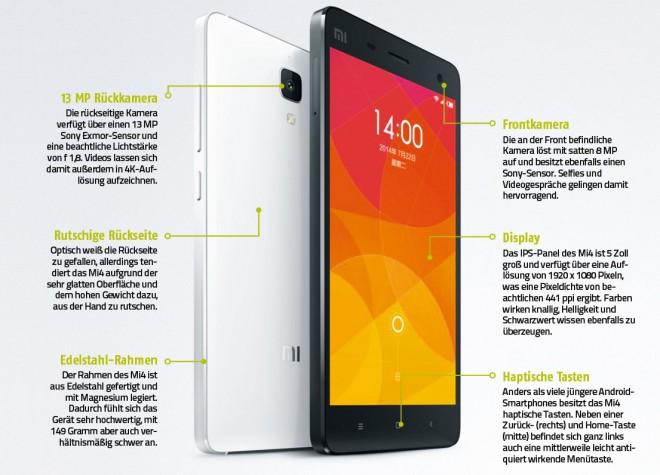 Das Xiaomi Mi4: Eines der vielen Geräte, die der chinesische Hersteller anbietet.