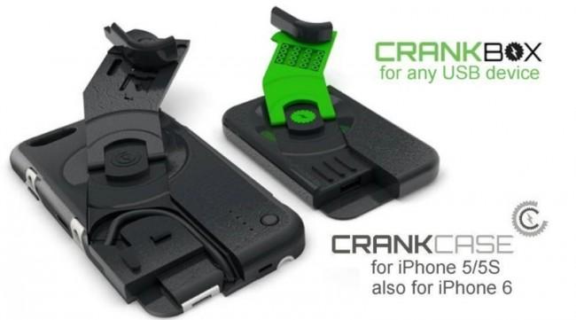 Das CrankCase wird zunächst nur für iPhone-Modelle erhältlich sein, soll später aber auch andere Smartphones unterstützen. Die CrankBox dagegen kann jedes mobile Gerät aufladen, das über einen Micro-USB-Anschluss verfügt. (Foto: Ampware)