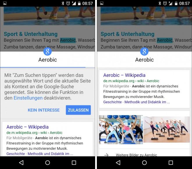 """Auf einige Motorola Geräten ist die Funktion """"Zum Suchen tippen"""" schon verfügbar."""