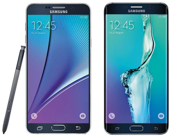Links das Note 5, rechts das Galaxy S6 Edge+: So sollen die neuen Samsung-Phablets aussehen.