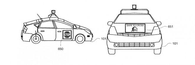 So sollen nach den Vorstellungen von Google selbstfahrende Autos mit Fußgängern kommunizieren (Bild: Google Patentantrag / USPTO).