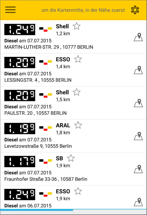 Die App zeigt die gefundenen Tankstellen wahlweise auf einer Straßenkarte oder aber in Form einer Liste an.