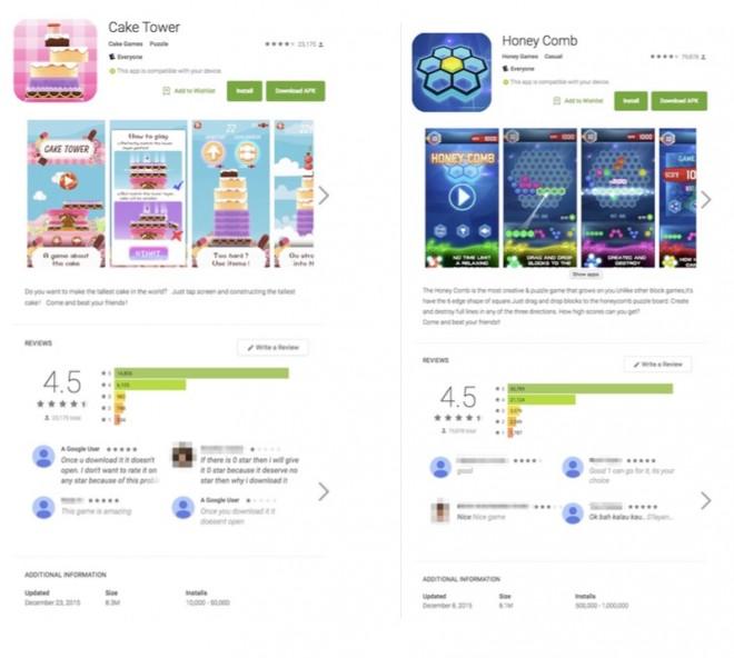 4,5 von 5 möglichen Sternen: Viele der Malware-Apps haben sich ausgezeichnete Bewertungen erschlichen.