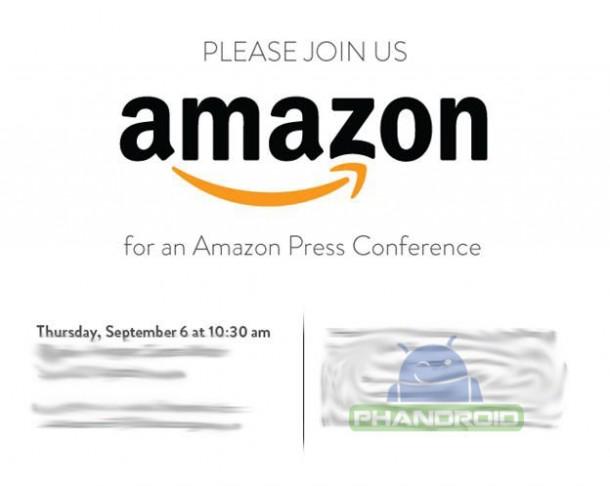 Die Einladung für die Amazon Pressekonferenz am 6. September. Foto: phandroid.com.
