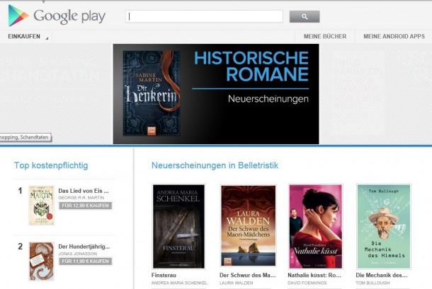 Auch in Deutschland können Bücher nun über den Google Playstore erworben werden.