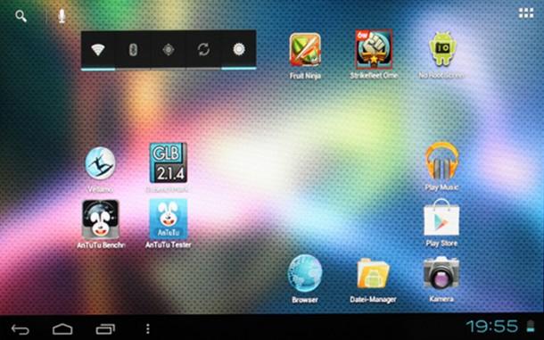 Das Ainol-Tablet bietet eine komplett unveränderte Android 4.0 Oberfläche.