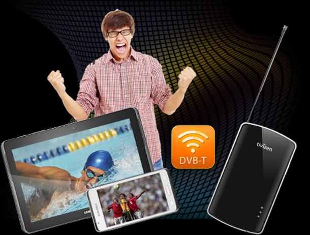 Der Tivizen DVBT Empfänger von Samsung bringt mobiles fernsehen auf Smartphones und Tablets. Foto: Samsung.
