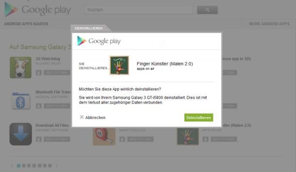 Installierte Apps lassen sich nun auch direkt über die Google Play Webseite deinstallieren.