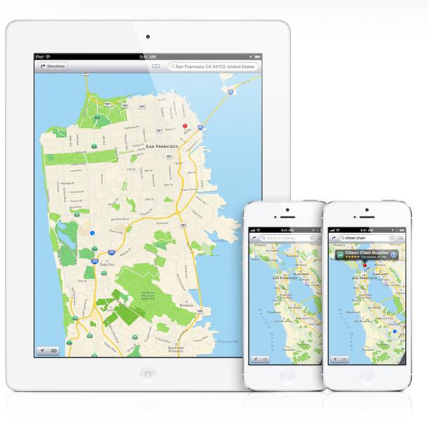 Da die Kartenanwendung Apple Maps noch einige Fehler aufweist entschuldigt sich Apple Chef Tim Cook bei den Nutzern und verweist auf alternativen von Google, Microsoft und Nokia. Foto: Apple.com.