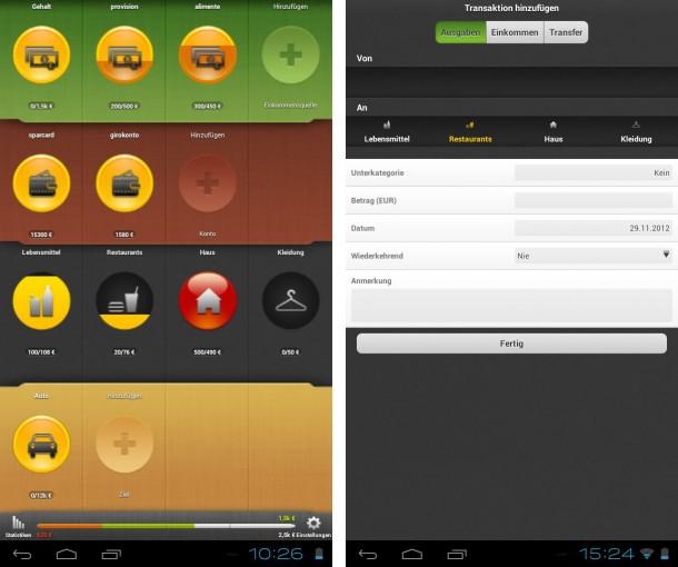 Innerhalb der App werden Einnahmen und Ausgaben individuell zugeteilt.