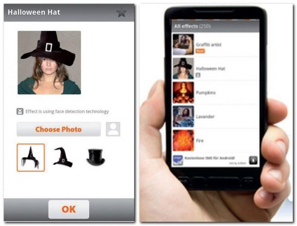 Darf es vielleicht ein Halloween-Hut sein? Auch Accessoires lassen sich einfügen. Die Auswahl an Effekten ist umfangreich und wird dennoch übersichtlich feilgeboten.