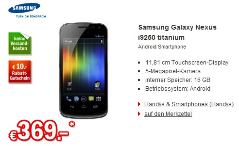 Das Samsung Galaxy Nexus ist bei bei Redcoon vergünstigt zu haben.