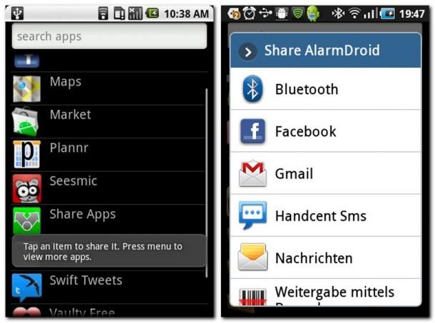 Share Apps listet alle installierten Apps auf, die Sie mit Ihrer Auswahl dann weitergeben können (Bild links).