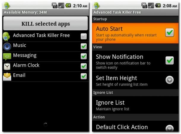Stichwort 'Zielschießen': Manche Apps wie beispielsweise Virenscanner sollten Sie nicht aus dem Speicher werfen (Bild links).