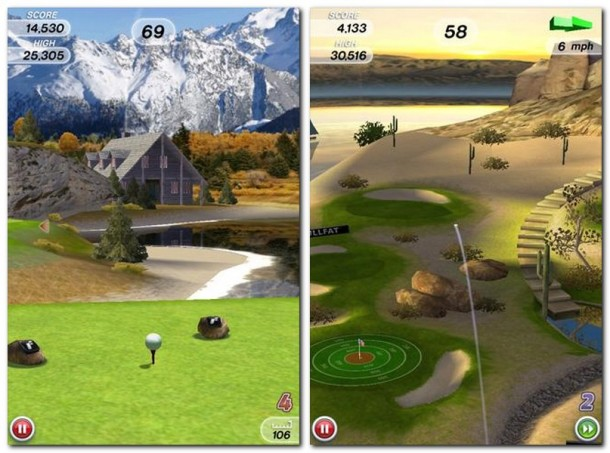 Ach, wieder so ein Golfspiel? Fast, wären da nicht der unerbittliche Countdown ... (Bild links).