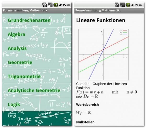 Die Formeln sind eingeteilt in 7 Hauptkategorien. Neben Formeln werden auch Skizzen gezeigt.