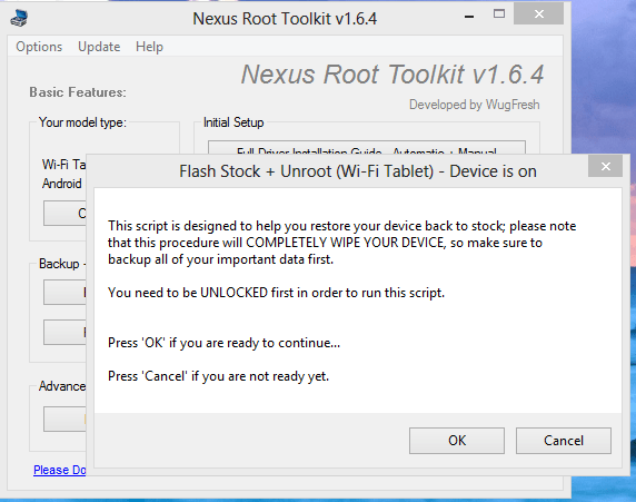 Nexus 7 Root Tool Kit Flash Stock