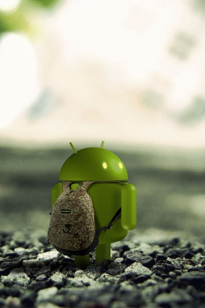 3D Android With Backpack Android Wallpaper