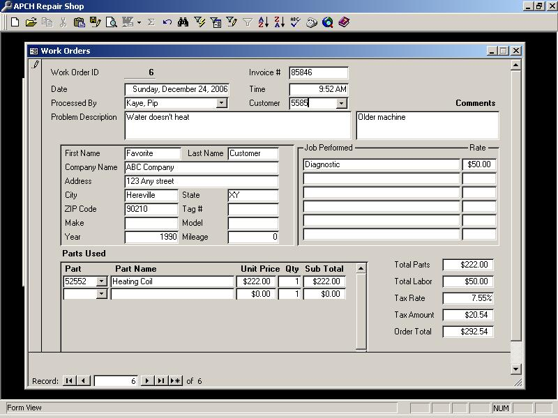 Repair Shop Work Order Database - Andy\u0027s Access SQL Database Help!