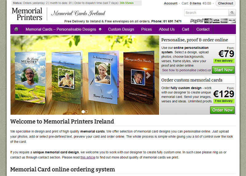 Memorial Cards online ordering site launched \u2013 case study