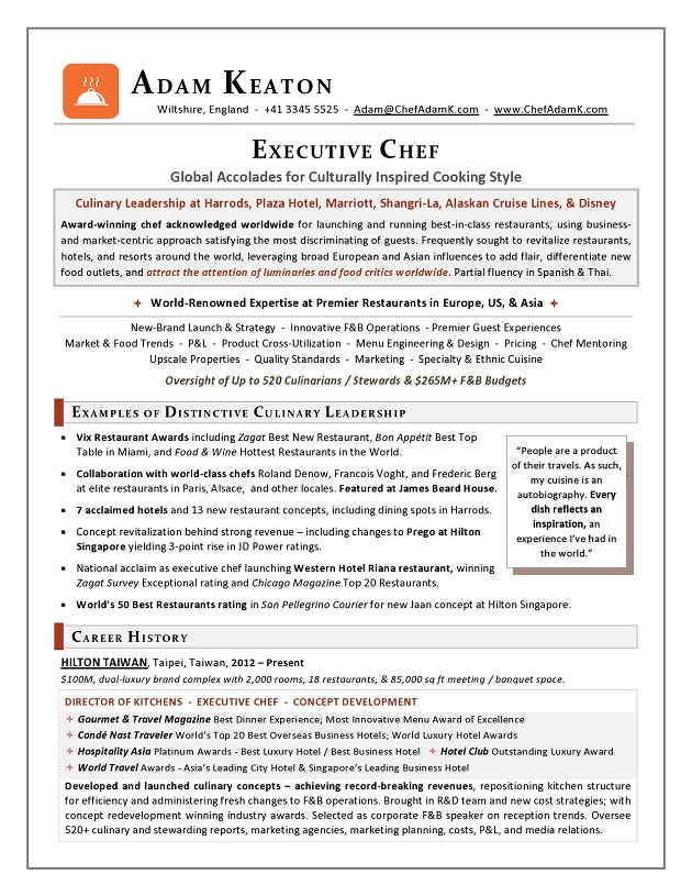 Award-Nominated Executive Chef Sample Resume - Executive resume writer