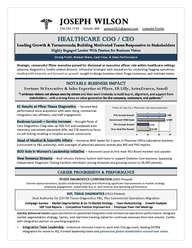 Award-Winning CEO  COO Healthcare Resume by Executive Resume Writer