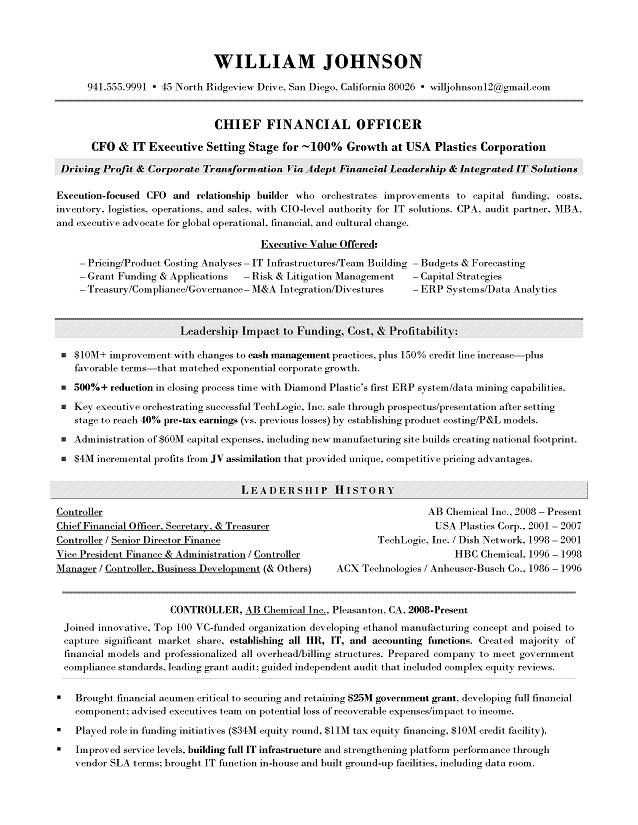 CFO Sample Resume - Executive resume writer for Technology