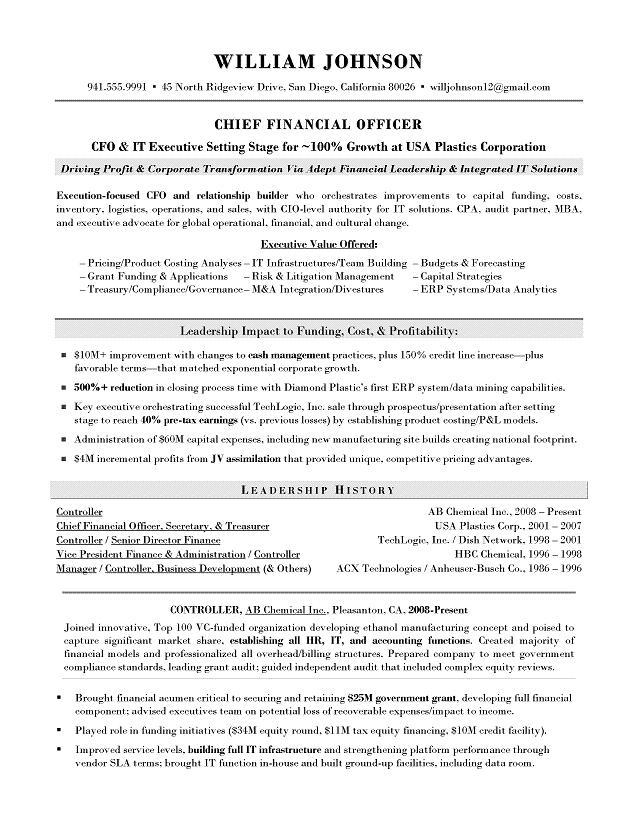 CFO Sample Resume - Executive resume writer for Technology