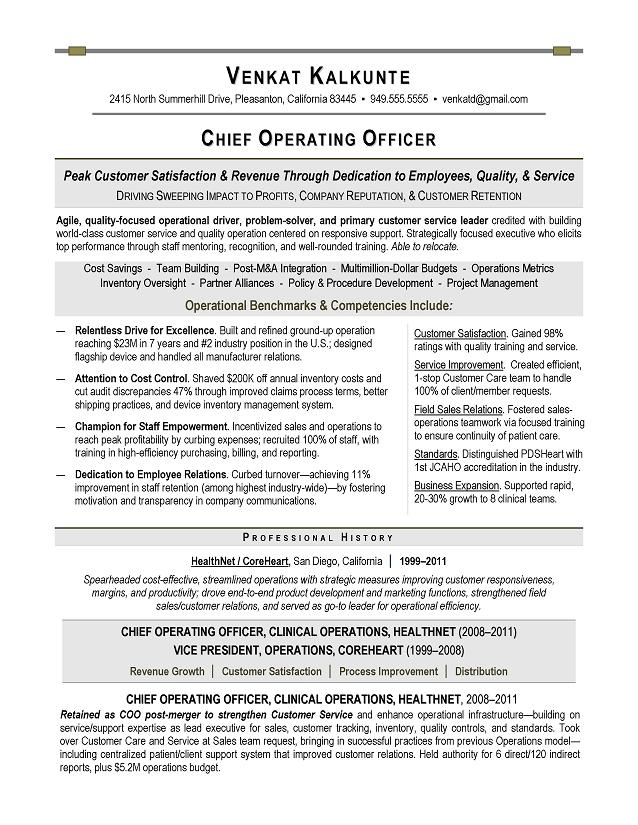 COO Sample Resume - Executive resume writer for Technology - Healthcare Resume Sample