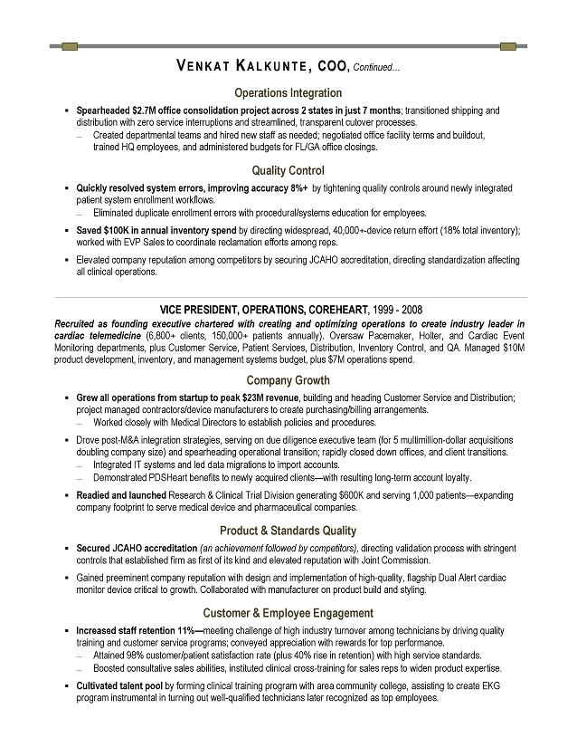 COO Sample Resume - Executive resume writer for Technology