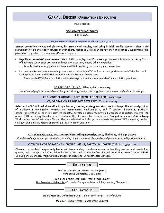 Sample COO Resume - ESH, Energy, Construction COO resume service - commercial officer sample resume