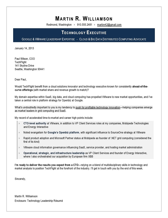 Sample Cover Letter for CTO, Executive resume writing service, IT
