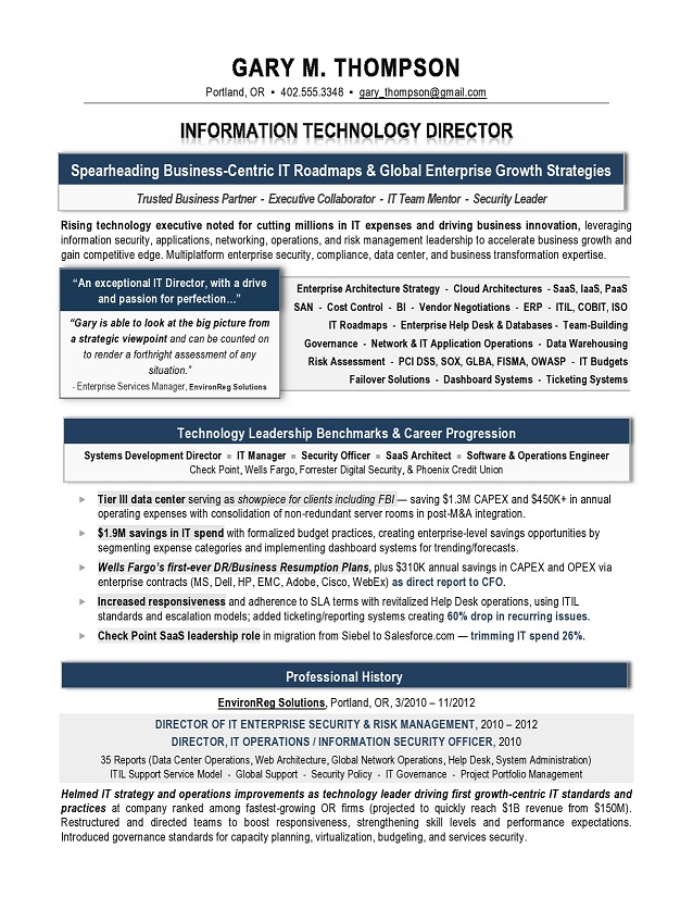 IT Director Sample Resume - IT resume writer - Technical resume - operations director cv