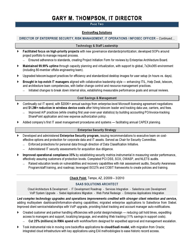 IT Director Sample Resume - IT resume writer - Technical resume - wireless consultant sample resume