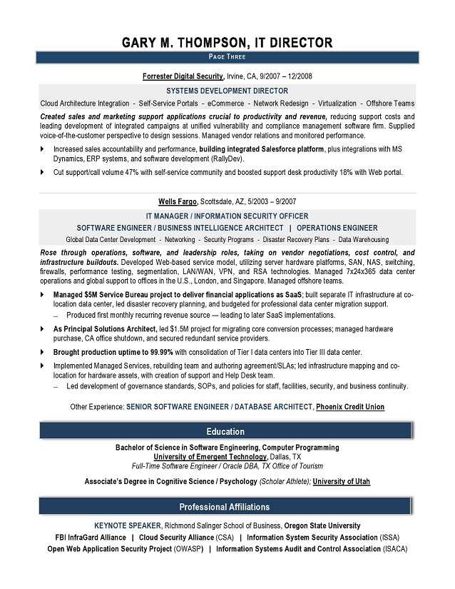 IT Director Sample Resume - IT resume writer - Technical resume - sample technical resume