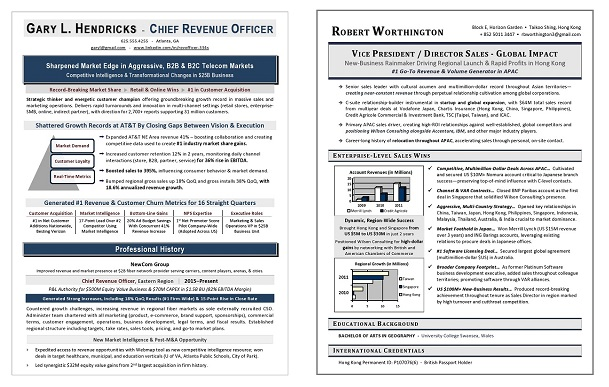 Executive Resume Samples #1 US Award-Winning Executive Resume Writer
