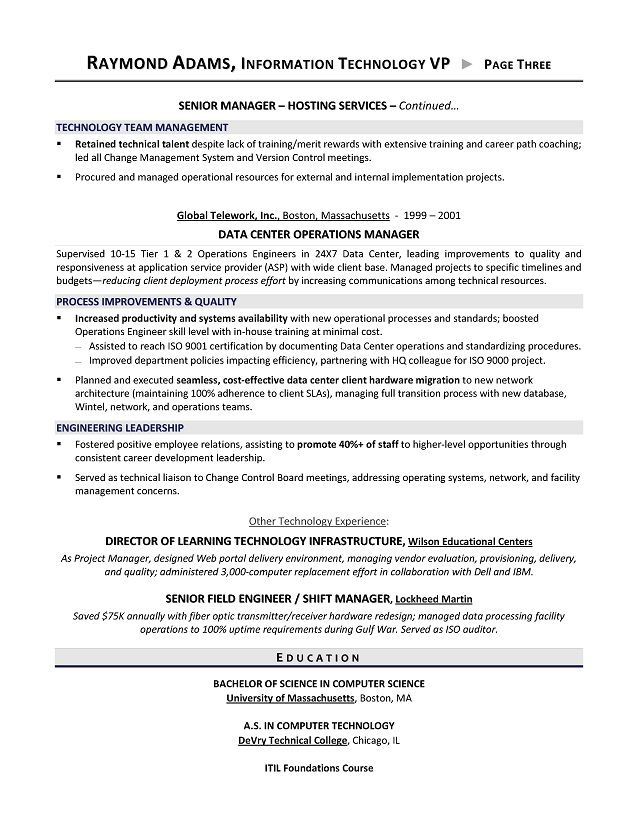 VP of IT Resume - IT Director Resume - Executive resume writer for
