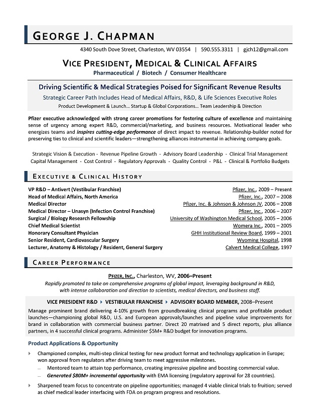 VP Medical Affairs Sample Resume - Executive resume writer for R\D - resume objective for medical field