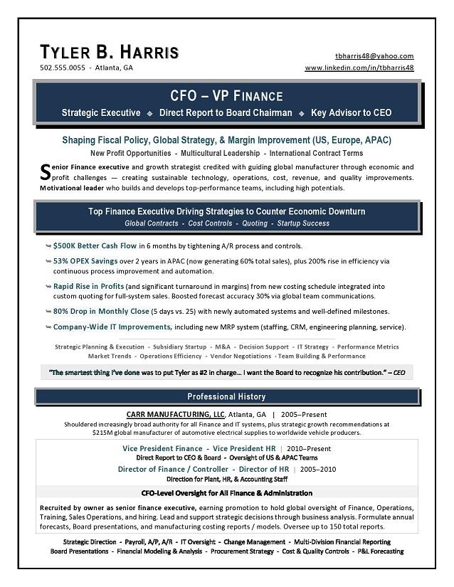 Sample VP Finance  CFO Resume by Award-Winning Writer Laura Smith