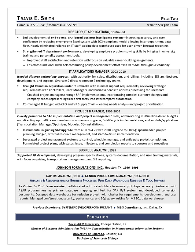 VP IT Sample Resume - Executive Resume Writing Services for CIO, CTO - user experience consultant sample resume