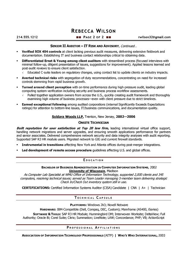 Senior IT Auditor - Compliance Sample Resume - Resume writer Boulder