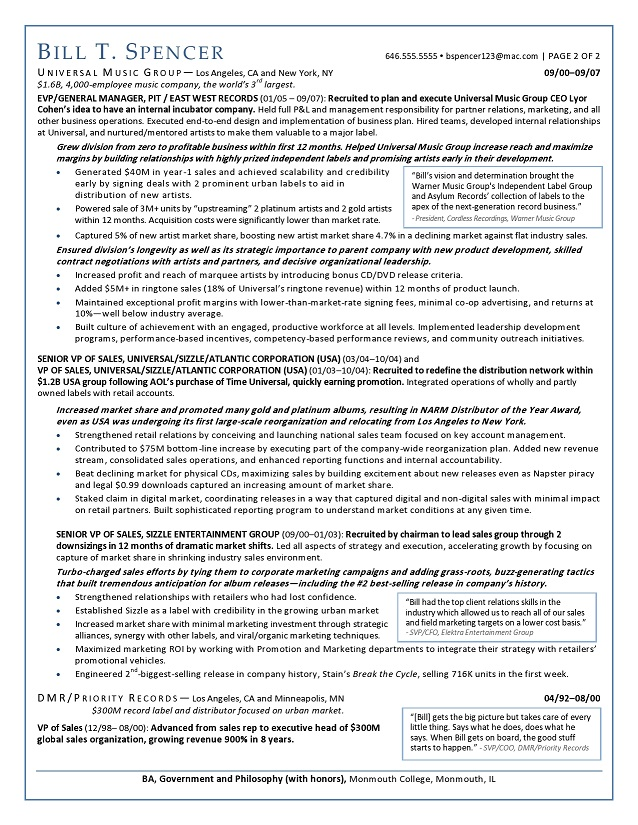 Sample CEO  EVP Resume Kimberly Robb Baker, An Expert Resume - baker sample resumes